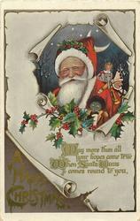 A HAPPY CHRISTMAS  Santa, holly