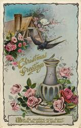 CHRISTMAS GREETINGS  sun-dial, cottage, roses, swallow