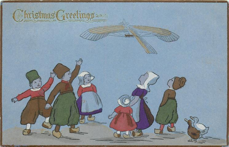 CHRISTMAS GREETINGS  Dutch children wave & view fantasy airplane, two ducks lower right