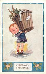 CHRISTMAS GREETINGS  boy carries basket with rabbit and dead duck, label TO YOU