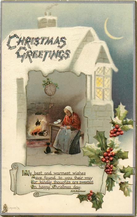 CHRISTMAS GREETINGS  old woman & cat fireside, holly, sliver of moon