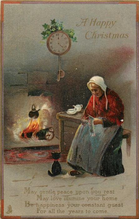 A HAPPY CHRISTMAS  old woman & cat fireside