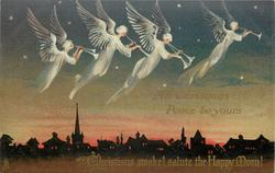 ALL CHRISTMAS PEACE BE YOURS  four angels play pipes flying across sleeping town