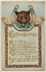 CHRISTMAS GREETINGS  winking cats head in horseshoe