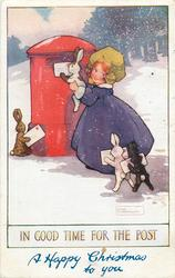 IN GOOD TIME FOR THE POST  girl helps rabbits post letters