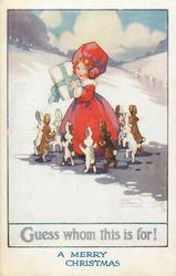 GUESS WHOM THIS IS FOR!  girl with parcel surrounded by rabbits