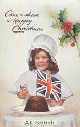 COME & SHARE A HAPPY CHRISTMAS  girl, Xmas pudding with flag