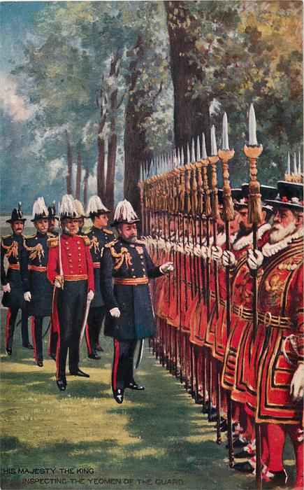 HIS MAJESTY THE KING INSPECTING THE YEOMAN OF THE GUARD