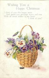 WISHING YOU A HAPPY CHRISTMAS  basket of pansies