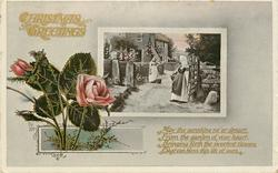 CHRISTMAS GREETINGS  two women before cottage, roses