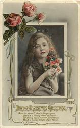 LOVING CHRISTMAS GREETINGS or CHRISTMAS GREETINGS  long haired young girl, roses