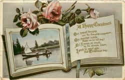 A HAPPY CHRISTMAS  couple in canoe with sail, roses