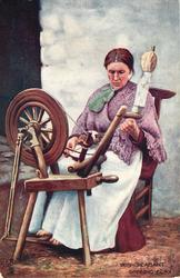 IRISH PEASANT, SPINNING FLAX