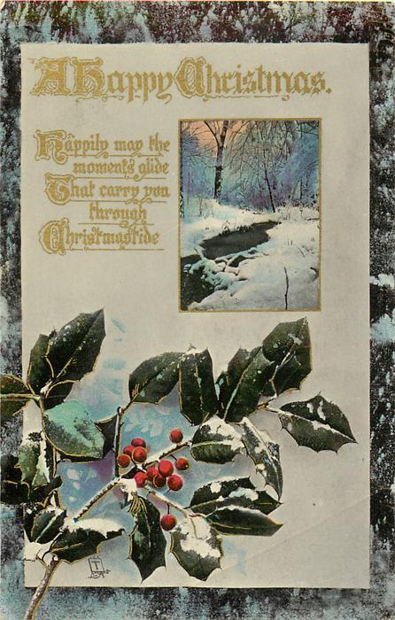 A HAPPY CHRISTMAS  winter scene, holly