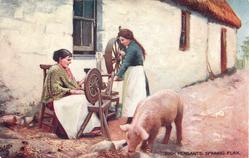 SPINNING FLAX  with pig