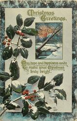 CHRISTMAS GREETINGS  evening winter scene, holly