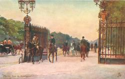 riders move in & out through gates, carriage far left