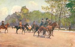 five riders move right front, open landau behind