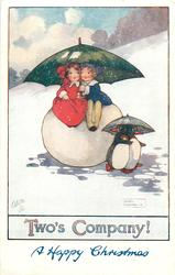 TWO'S COMPANY!  boy & girl sit on snowball under umbrella, two penguins also have umbrella