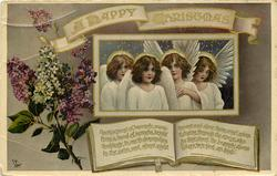 A HAPPY CHRISTMAS   four angels & lilac