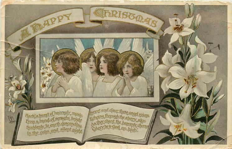 A HAPPY CHRISTMAS  four angels & Easter lilies
