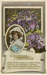 CHRISTMAS GREETINGS  girl, violets