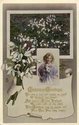CHRISTMAS GREETINGS  girl, snowdrops