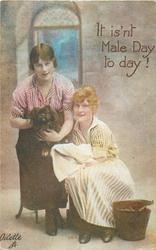 IT IS'NT MALE DAY TODAY!  girl on left holds pekingese for other girl to dry