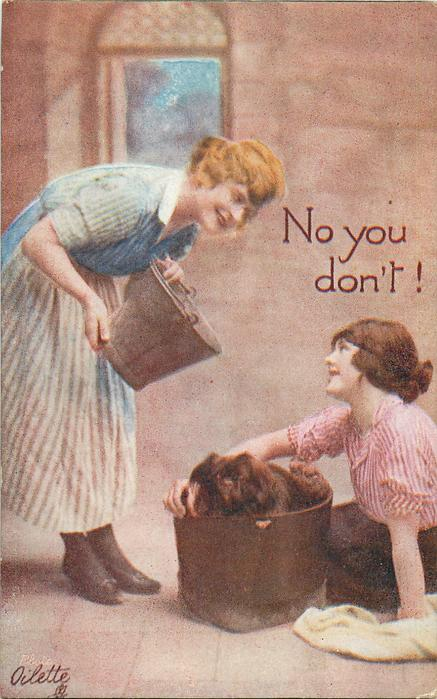 NO YOU DON'T!  girl on left prepares to pour water on pekingese in bath on floor, girl on right sits on floor