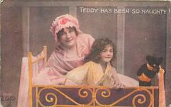 TEDDY HAS BEEN SO NAUGHTY!  mother behind child in cot, teddy banished to the corner
