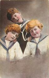 three boys in sailor suits, boy at back tilts head, looks up/right, boy on left looks left/up, boy on right looks front