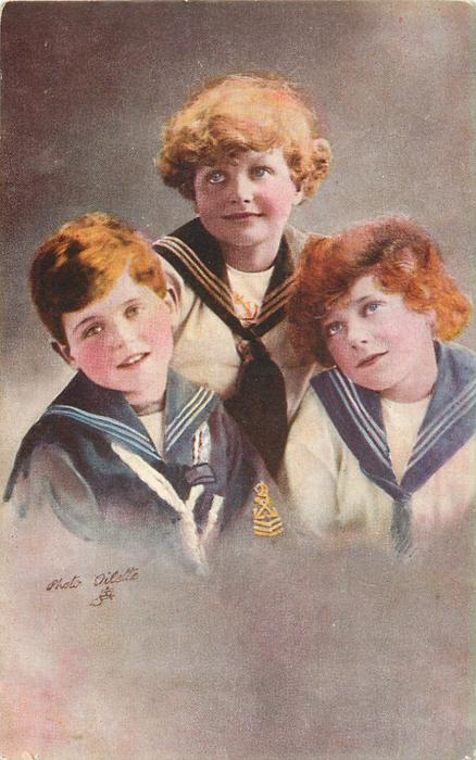 three boys in sailor suits, boy front left looks front, boy on right looks up /left, boy at back looks up/left