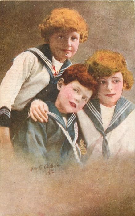 three boys in sailor suits, boy front left looks up & left, boy on right looks front /right, boy at back looks front