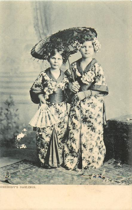 SOMEBODY'S DARLINGS  two white girls in kimonos under a parasol