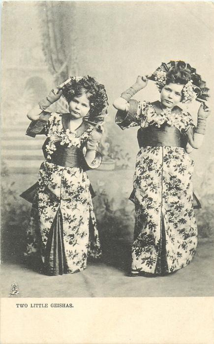 TWO LITTLE GEISHAS  two white girls in kimonos