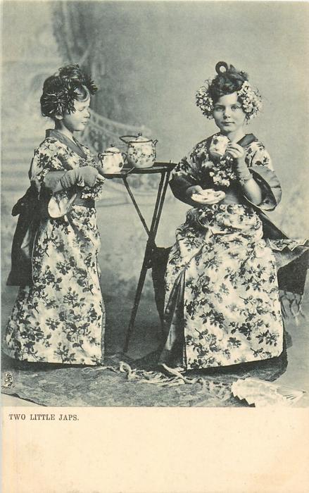 TWO LITTLE JAPS  two white girls in kimonos take tea