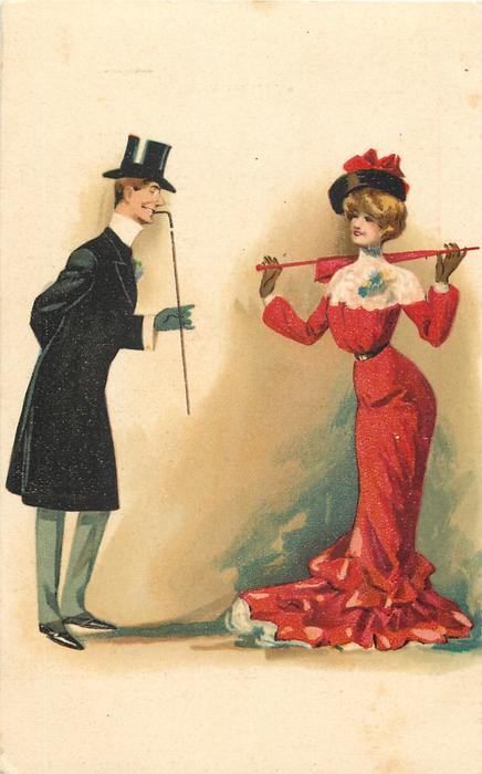 woman in red holds parasol across back with both hands admired by elegant beau standing left