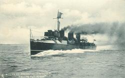 """A TURBINE-PROPELLED DESTROYER. """"GOING FULL SPEED."""""""