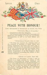 PEACE WITH HONOUR!  with message from house of lords at bottom