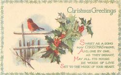 CHRISTMAS GREETINGS  robin on fence, holly