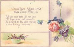 CHRISTMAS GREETINGS AND GOOD WISHES  rose, heather, violets