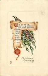CHRISTMAS GREETINGS  white & purple heather