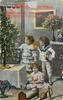 A HAPPY CHRISTMAS  girl and boy stand to right of Xmas tree, young girl on floor holdiong doll, toys front