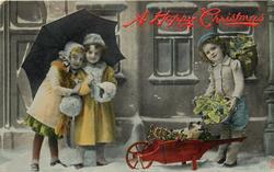 two girls left under umbrella, young boy right with piglet & holly in wheelbarrow