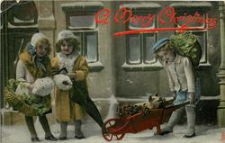 two girls left with furled umbrella, young boy right with piglet & holly in wheelbarrow