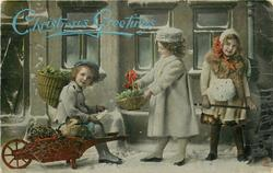 two girls right, young boy left sitting in wheelbarrow with piglet & holly