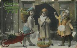 CHRISTMAS GREETINGS  young boy left has wheelbarrow with piglet, girl in middle under umbrella, girl right holds letter