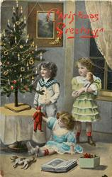 CHRISTMAS GREETING  girl and young boy stand another girl sits on floor, Xmas tree left, book & toys front
