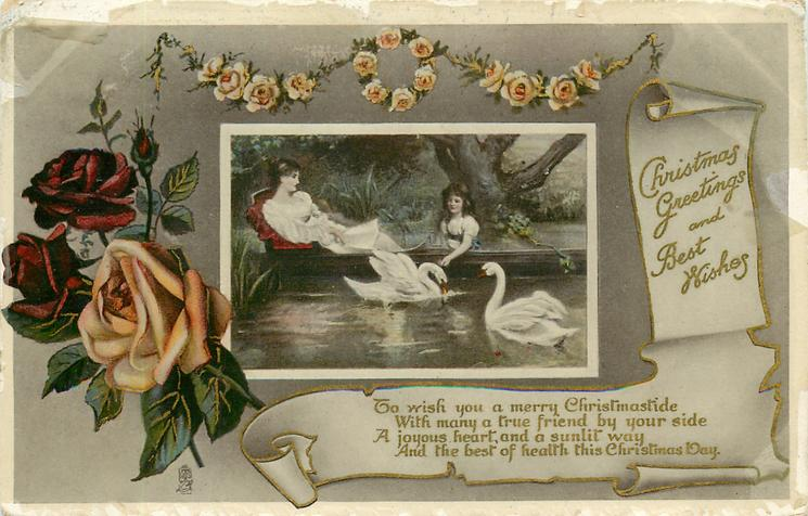 CHRISTMAS GREETINGS AND BEST WISHES  two young women feed swans from a punt