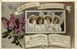 A JOYFUL CHRISTMAS  4 angels & lilac